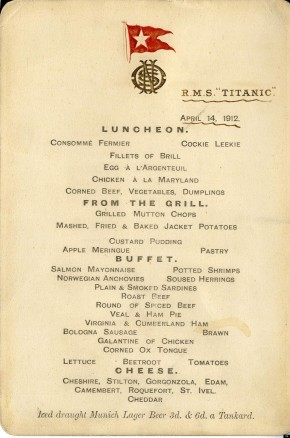Food for Thought: The Titanic to QueenVictoria